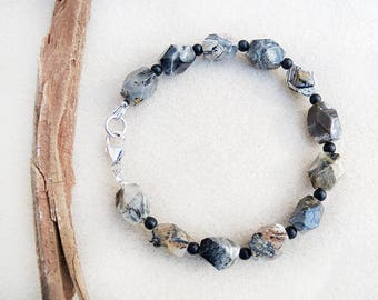 Men's Bracelet, Silver Leaf Jasper, Black Onyx, Sterling Silver, Brown, Cream, Gray, Black, Tan, Gift for Him, Gift for Man, Gift for Father