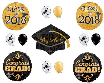 Black & Gold CLASS OF 2018 Graduation Party Balloons Decoration Supplies Hat