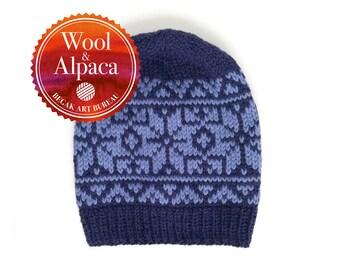 Blue Rose Beanie, Fair Isle Hat, Winter Beanie, Slouchy Wool Beanie, Nordic Beanie, Alpaca Nordic Knit Hat, Chunky Knit Hat, Ready To Ship