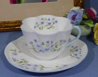 Shelley Blue Rock Tea Cup and Saucer, Shelley Teacup with Blue Handle Blue Trim, Blue Rock 13691, Bone China England 1940 ~ 1966