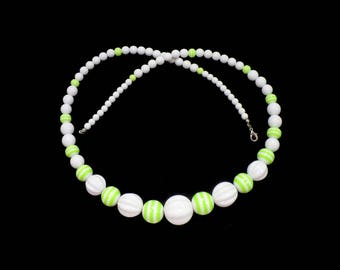 Lime Green & White Beaded Necklace, Green and White Lucite Beads, 2017 Pantone Green, Mad Men Style, Gift for Teen, Gift for Her