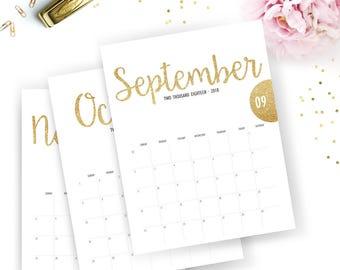 Printable 2018 Monthly Calendar - Printable Calendar - Gold Glitter Planner - Gold Glitter Printable - Instant Download - Print at home