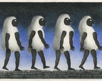 Original mixed media drawing - Stand and walk