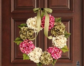 WREATHS | Spring Wreaths | Front Door Wreaths | Hydrangea Wreath | Spring Wreath | Housewarming Gift | Outdoor Wreaths