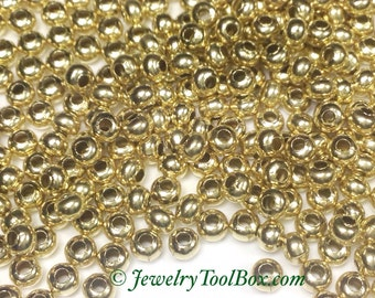 Metal Seed Beads, 8/0, Size 8, Brass Spacers, 2x3mm, Made in the USA, Lead Free, Lot Size 40 grams, #1423