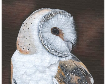 Owl Painting -  PRINT of Owl painting A4 size print Bird Art BO4015 wall art print - bird art print - owl art owl decor