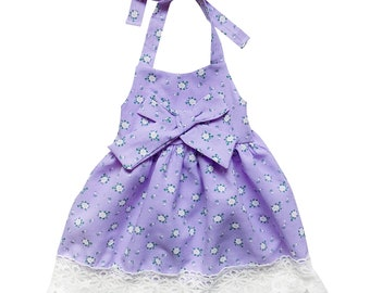 Vintage Floral Lavender & Lace Halter Style Dress -Toddler Girls Cotton Spring Summer Beach Vacation Pictures, Church, Birthday Party Outfit