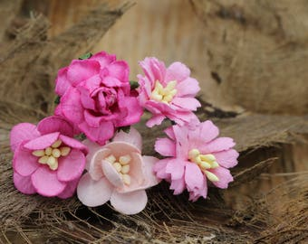 5 Small Pink Mulberry Paper Flower Hair Pins , Bridal Hair Pins, Hair Bobby Pins,U pins,Prom,Bridal Hair Accessories (FL374)