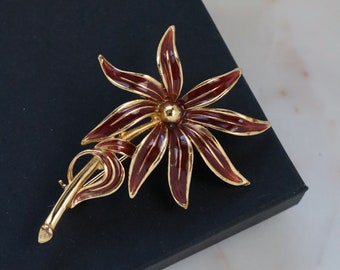 Vintage Flower Brooch - Brown Flower Brooch - Gold Flower Pin