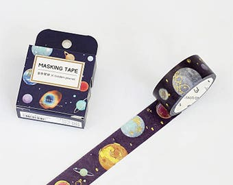 Space Washi Tape, Gold Foil Galaxy Washi Roll, Solar System, Planets Masking Tape, Deco Tape