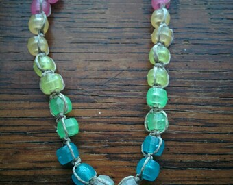 Rainbow Glow-in-the-Dark Beaded Necklace on Natural Hemp