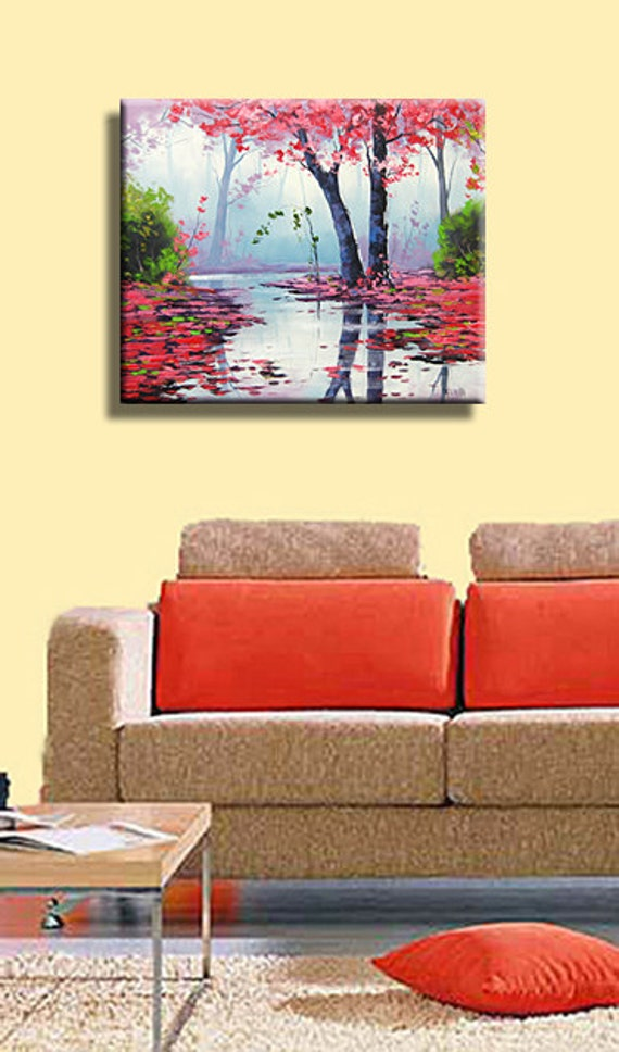 PINK WALL ART Decor Tree Paintings pink landscape Trees River