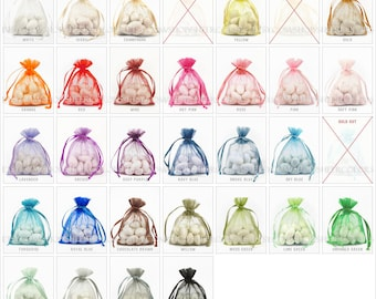 110 Organza Bags, 3 x 4 Inch Sheer Fabric Favor Bags,  For Wedding Favors, Drawstring Jewelry Pouch- CHOOSE Your Color Combo