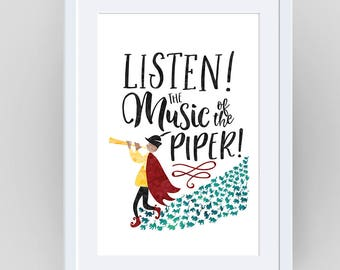 The Pied Piper, baby girl nursery, baby shower gift, Fairytale clipart, fairy tale printable, wall art, art print, Fairytale, Fairytale art