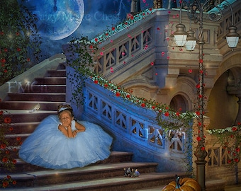 Digital backdrop Cinderella Fairytale ,  digital background with stairs, crystal shoe, mice and pumpkin, clock in the moon, instant download