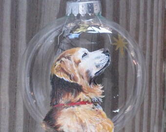 Custom Pet Ornament, Custom Pet Portrait, Pet Portrait, Personalized Dog Portrait, Dog Christmas Gift - Hand Painted From Your Photograph