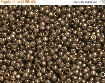 ON SALE Toho 11/o Gold Lustered Montana Blue Seed Beads (TR-11-204), choice of 10 grams or 23 grams
