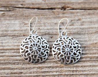 Silver Prussian Sun symbol earrings