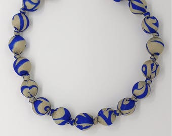 Beaded necklace made from upcycled Indian sari