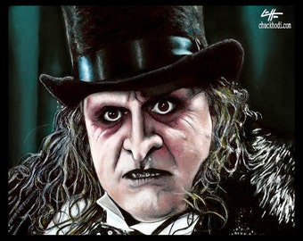 "Print 8x10"" - Penguin - Batman Returns Oswald Cobblepot Joker Danny DeVito Dark Art Michael Keaton Jack Nicholson Tim Burton Cat Women"