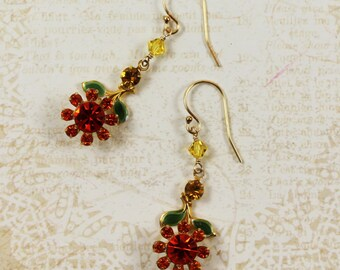 Orange Rhinestone and Enamel Flower Earrings with Swarovski Crystals and 14K Gold Fill