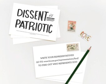 Fundraising Political Postcards ACLU benefit  - PRINTABLE, Dissent is Patriotic, Hear our Voice - Proceeds donated to ACLU