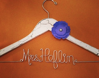 RUSTIC Personalized  Wire Wedding Hanger with Flower