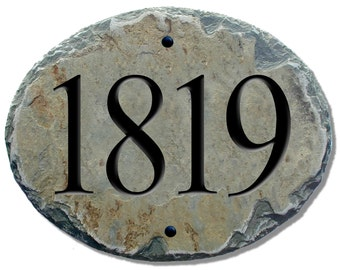 HOME ADDRESS Numbers Slate Oval Plaque / House / Marker Sign Carved #E-2s