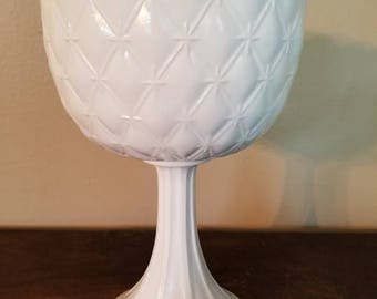 Vintage Milk Glass Compote with Duette Diamond Quilted Pattern by Indiana Glass - Medium Size