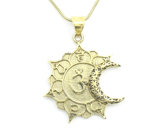 Moon Om Necklace, Crescent Moon Pendant, Yoga Jewelry, Flower, Meditation, Festival Jewelry, Boho, Bohemian, Gypsy, Hippie, Spiritual