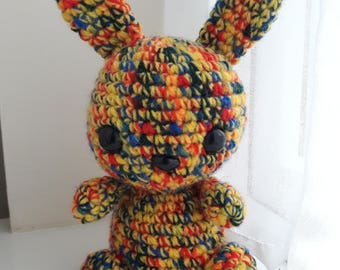 Handmade Crochet Bunny Rabbit Stuffed Knit Toy Yellow Rainbow Easter Gift NEW 20cm