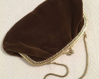 Vintage 1960s PM Brown Suede Look Evening Bag with Kiss Lock Converts to Clutch