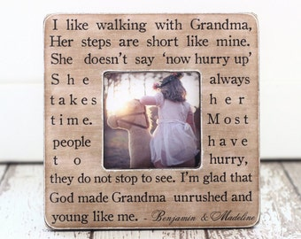 Gift for Grandma Grandmother from Grandchild Grandchildren Personalized Gift Picture Frame Special Quote for Grandma