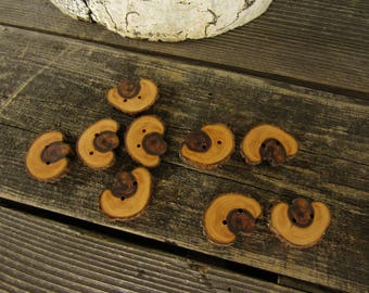 3 gnarled and weathered wooden buttons- Juniper, handmade buttons (5014)