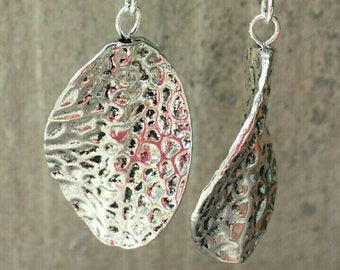 Pewter Wave Earrings with Sterling Silver.
