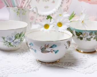 Set of 3 pretty sugar bowls / candy dishes: a trio of small serving bowls for a tea party, use them to serve little treats