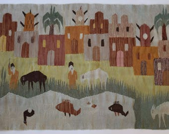 Vintage Woven Wool Tapestry / Rug / Wall Hanging - North African Motif - Houses / Animals / People / Nature