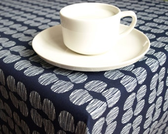 Tablecloth navy blue white abstract decor Modern decor Scandinavian Design , runner , napkins , curtains , pillows available, great GIFT