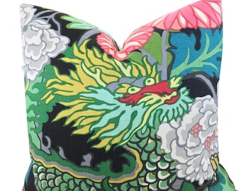 Chiang Mai Ebony Pillow Dragon Pillow Chinoiserie Schumacher BOTH SIDES Pillow Decorative Pillow Covers  ONE pillow cover
