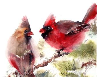 Cardinal birds fine art print, Northern Cardinals Couple, Watercolor Painting art print, bird wall art print