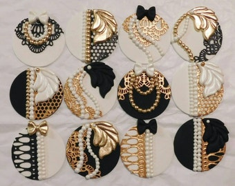 Great Gatsby cupcake toppers
