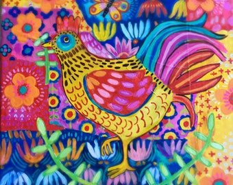 Mixed Media Rooster Painting