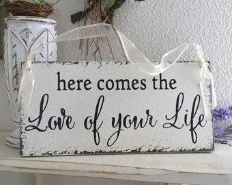 WEDDING SIGNS, Here comes the Love of your Life, Ring Bearer Signs, Flower Girl Signs, Mr. and Mrs Signs, 5.5 x 11.5