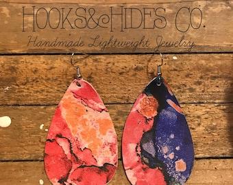 Bright Watercolor Drops | teardrop earrings, leather earrings