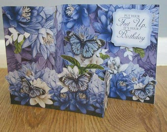 Handmade floral butterfly Birthday / Mothers day card