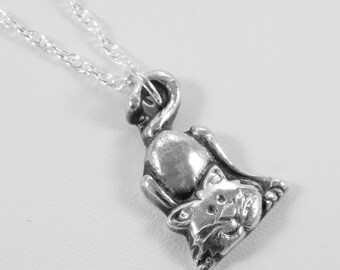 Fine Silver Cat Necklace. Cat Charm. Cat Charm Necklace. Precious Metal Clay. PMC. Oxidized Silver. Fine Silver Charm. Cat Lover Gift.