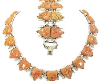 Vintage Orange Necklace and Bracelet Set, 1960's Coro Orange Lucite Necklace, Bracelet Set, Demi Parure, 1960's Jewelry