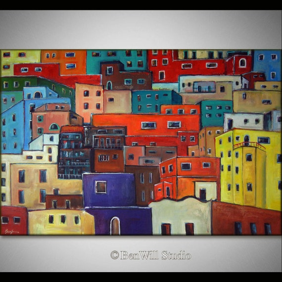 """60"""" HUGE Abstract Painting COLORFUL Art Original Modern Art HOUSES Mexican Art on Canvas - Fine Art by BenWill"""