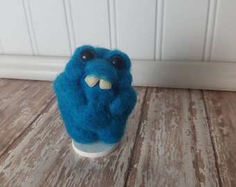 Adorable Needle Felted Wool Toothy Monster- Blue