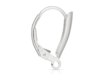 Sterling Silver 14.2x10.2mm Shield Leverback W/Ring - 1pr High Quality Leverbacks (6368)/1